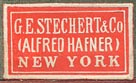 G.E. Stechert & Co. (Alfred Hafner), New York (red/ivory, 22mm x 13mm), ca.1930