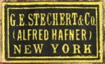 G.E. Stechert & Co. (Alfred Hafner), New York (24mm x 13mm, after 1926)