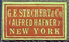 G.E. Stechert & Co. (Alfred Hafner), New York  (copper/khaki, 22mm x 13mm, ca.1915)
