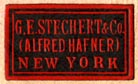 G.E. Stechert & Co. (Alfred Hafner), New York  (black/red, 22mm x 13mm)