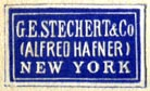 G.E. Stechert & Co. (Alfred Hafner), New York  (blue/ivory, 22mm x 13mm)