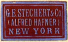 G.E. Stechert & Co. (Alfred Hafner), New York  (red/sky, 22mm x 13mm, after 1939)