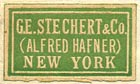 G.E. Stechert & Co. (Alfred Hafner), New York  (green/tan, 22mm x 13mm, ca.1941)