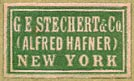 G.E. Stechert & Co. (Alfred Hafner), New York  (green/white, 21mm x 13mm, ca.1924)
