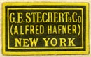 G.E. Stechert & Co. (Alfred Hafner), New York, NY  (yellow/black, 21mm x 13mm)