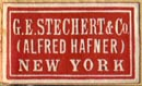 G.E. Stechert & Co. (Alfred Hafner), New York, NY  (22mm x 13mm). Courtesy of R. Behra.