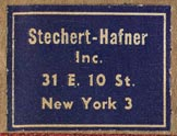 Stechert-Hafner, New York (26mm x 19mm, ca.1949)