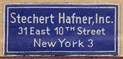 Stechert Hafner, New York (28mm x 13mm)