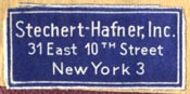 Stechert Hafner, Inc., New York (28mm x 13mm)