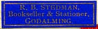 R.B. Stedman, Bookseller & Stationer, Godalming, England (24mm x 7mm). Courtesy of Robert Behra.