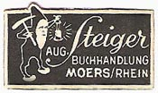 Aug. Steiger, Buchhandlung, Moers, Germany (28mm x 16mm)