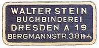 Walter Stein, Buchbinderei, Dresden, Germany (approx 31mm x 15mm, ca.1910). Courtesy of Michael Kunze.