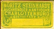 Moritz Steinhardt, Buchhandler & Antiquar, Charlottenburg [Berlin, Germany] (29mm x 15mm, ca.1921). Courtesy of Robert Behra.