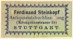 Ferdinand Steinkopf, Antiquaritsbuchhandlung, Stuttgart, Germany (40mm x 20mm). Courtesy of S. Loreck.