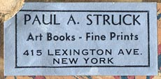 Paul A. Struck, Art Books - Fine Prints, New York, NY (37mm x 17mm, ca.1938).