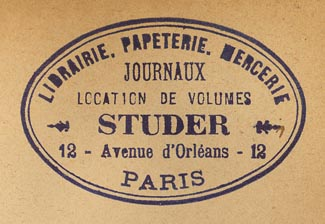 Studer: Librairie, Papeterie, Mercerie, Paris, France (49mm x 31mm, late 19th/early 20th).