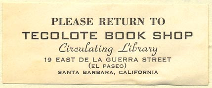 Tecolote Bookshop, Santa Barbara, California (70mm x 28mm). Courtesy of Donald Francis.