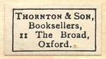 Thornton & Son, Oxford, England (23mm x 14mm, ca.1929).
