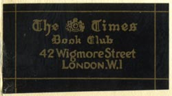 The Times Book Club, London (40mm x 21mm). Courtesy of Robert Behra.