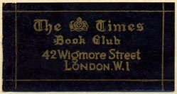 The Times Book Club, London, England (40mm x 21mm, after 1930).