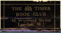 The Times Book Club, London, England (41mm x 21mm, after 1933). Courtesy of Robert Behra.