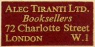 Alec Tiranti Ltd., Booksellers, London, England (31mm x 16mm). Courtesy of Robert Behra.