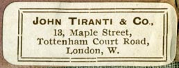 John Tiranti & Co., London, England (42mm x 16mm). Courtesy of Robert Behra.