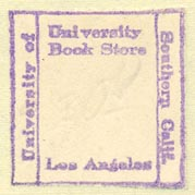 University Book Store - University of Southern California, Los Angeles, California (inkstamp, 27mm x 27mm)