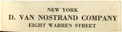 D. Van Nostrand Co., New York, NY (70mm x 18mm). Courtesy of Robert Behra.