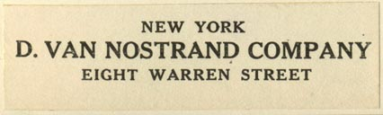 D. Van Nostrand Co., New York, NY (70mm x 20mm). Courtesy of Robert Behra.