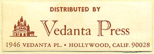 Vedanta Press, Hollywood, California (50mm x 16mm). Courtesy of Donald Francis