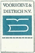 Voorhoeve & Dietrich, Boekverkopers, Hilversum, Netherlands (19mm x 25mm, with tab). Courtesy of S. Loreck.