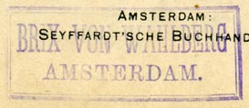 Brix von Wahlberg [music publisher], Amsterdam, Netherlands (inkstamp, 44mm x 18mm). Courtesy of Robert Behra.