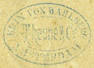Brix von Wahlberg (Theune & Co.) [music publisher], Amsterdam, Netherlands (inkstamp, 29mm x 21mm). Courtesy of Robert Behra.