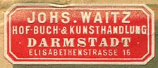 Johs. Waitz, Hof-Buch- & Kunsthandlung, Darmstadt, Germany (36mm x 15mm, after 1923)