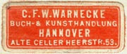 C.F.W. Warnecke, Buch- & Kunsthandlung, Hannover, Germany (30mm x 13mm). Courtesy of R. Behra.