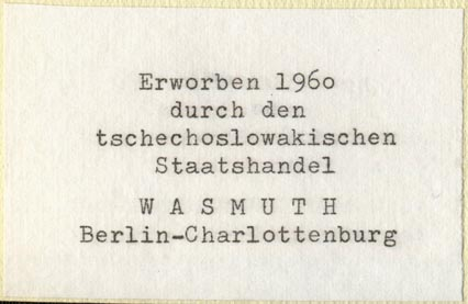 Wasmuth Antiquriat, Charlottenburg [Berlin], Germany (70mm x 46mm). Courtesy of Robert Behra.