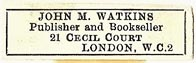 John M. Watkins, Publisher and Bookseller, London, England (32mm x 9mm). Courtesy of S. Loreck.