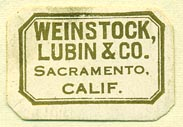 Weinstock, Lubin & Co., Sacramento, California (28mm x 19mm). Courtesy of Donald Francis.