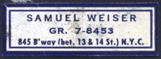 Samuel Weiser, New York, NY (38mm x 13mm).