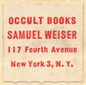 Samuel Weiser, Occult Books, New York, NY (19mm x 19mm). Courtesy of Robert Behra.