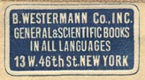 B. Westermann, New York, NY (25mm x 13mm, ca.1935).
