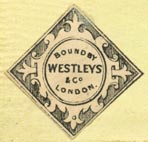 Westleys & Co. [binders], London, England (24mm x 23mm, after 1860). Courtesy of Robert Behra.