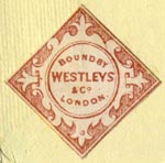 Westleys & Co. [binders], London, England (24mm x 24mm, after 1854). Courtesy of Robert Behra.