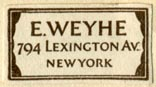 E. Weyhe, New York (25mm x 13mm). Courtesy of Robert Behra.