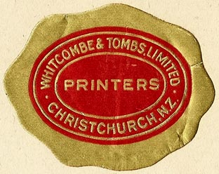 Whitcombe & Tombs, Printers, Christchurch, New Zealand (50mm x 40mm). Courtesy of S. Loreck.