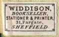 Widdison, Bookseller, Stationer & Printer, Sheffield, England (18mm x 12mm, ca.1890s). Courtesy of Robert Behra.