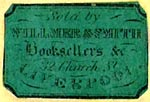 Willmer & Smith, Booksellers &c., Liverpool, England (23mm x 15mm, ca.1852). Courtesy of Nicholas Forster.