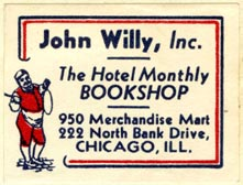 John Willy -- The Hotel Monthly Bookshop, Chicago, Illinois (36mm x 28mm). Courtesy of Robert Behra.