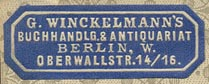 G. Winckelmann, Buchhandlung & Antiquariat, Berlin, Germany (34mm x 12mm).